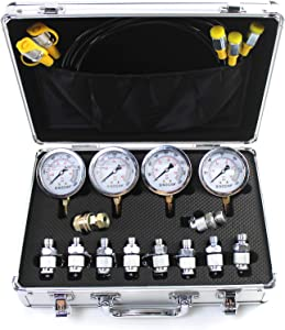 SINOCMP Hydraulic Test Gauge Kit with 10/25/40/60 Mpa Gauges Hydraulic Pressure Test Kit with Silver Aluminum Alloy Case Pressure Gauge Set Used for Excavators