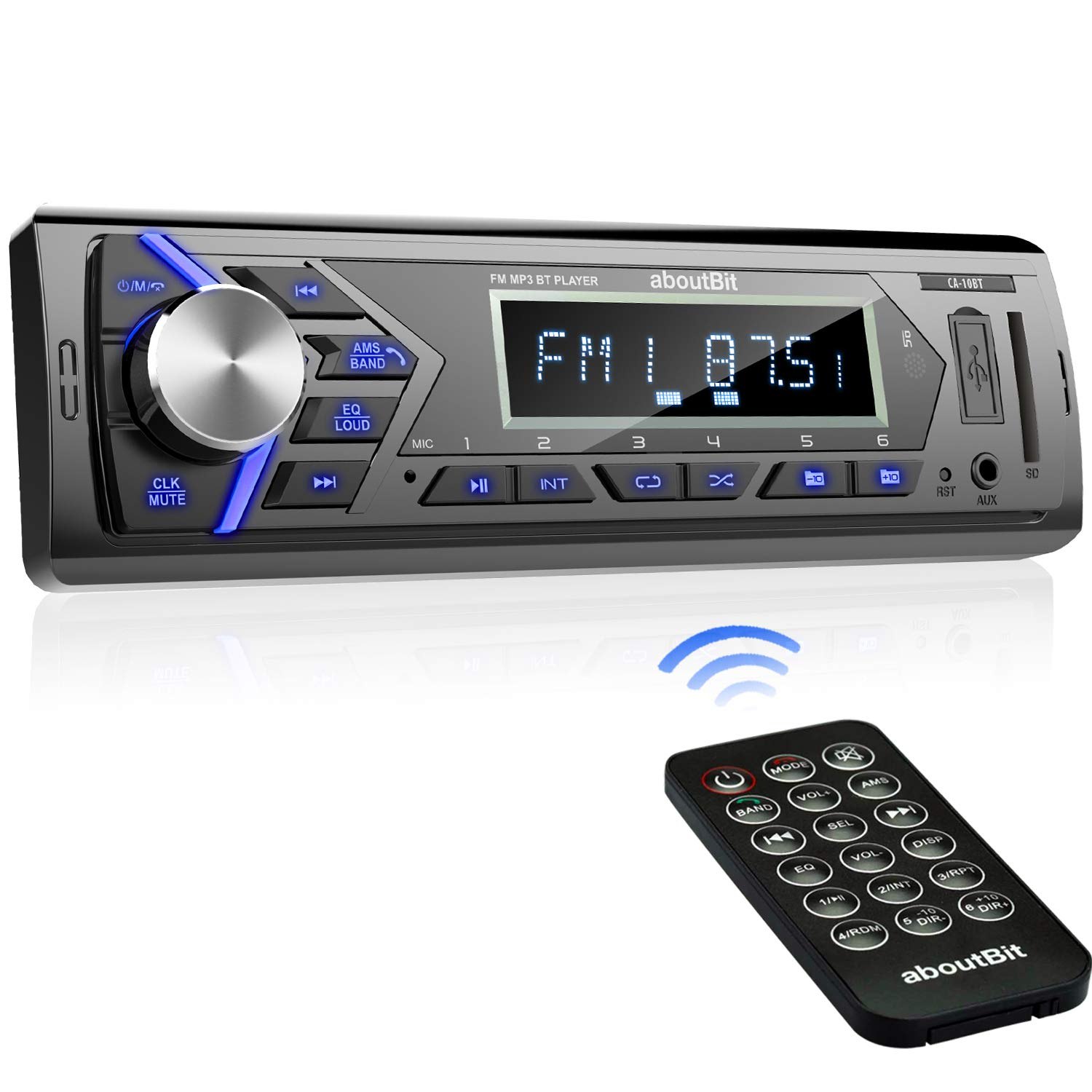 Bluetooth Car Stereo Radio Receiver,Single Din Mechless Digital Media Receiver Support FM/AM/USB/SD/FLAC/MP3/Aux-in with 7 Color Backlit,Wireless Remote Control by aboutBit