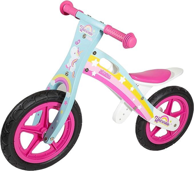 WOOMAX - Bicicleta sin pedales madera, bici sin pedales niña, de unicornio, niñas 2 años, bici madera, juguetes unicornio, bici niños 2 a 5 años, 25 ...