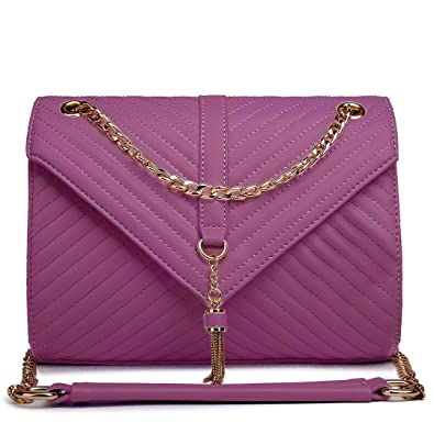 d7c4084ec967 Miss Lulu Women Ladies Quilted Faux Leather Chain Bag Cross Body Shoulder  Handbag (Dark Purple