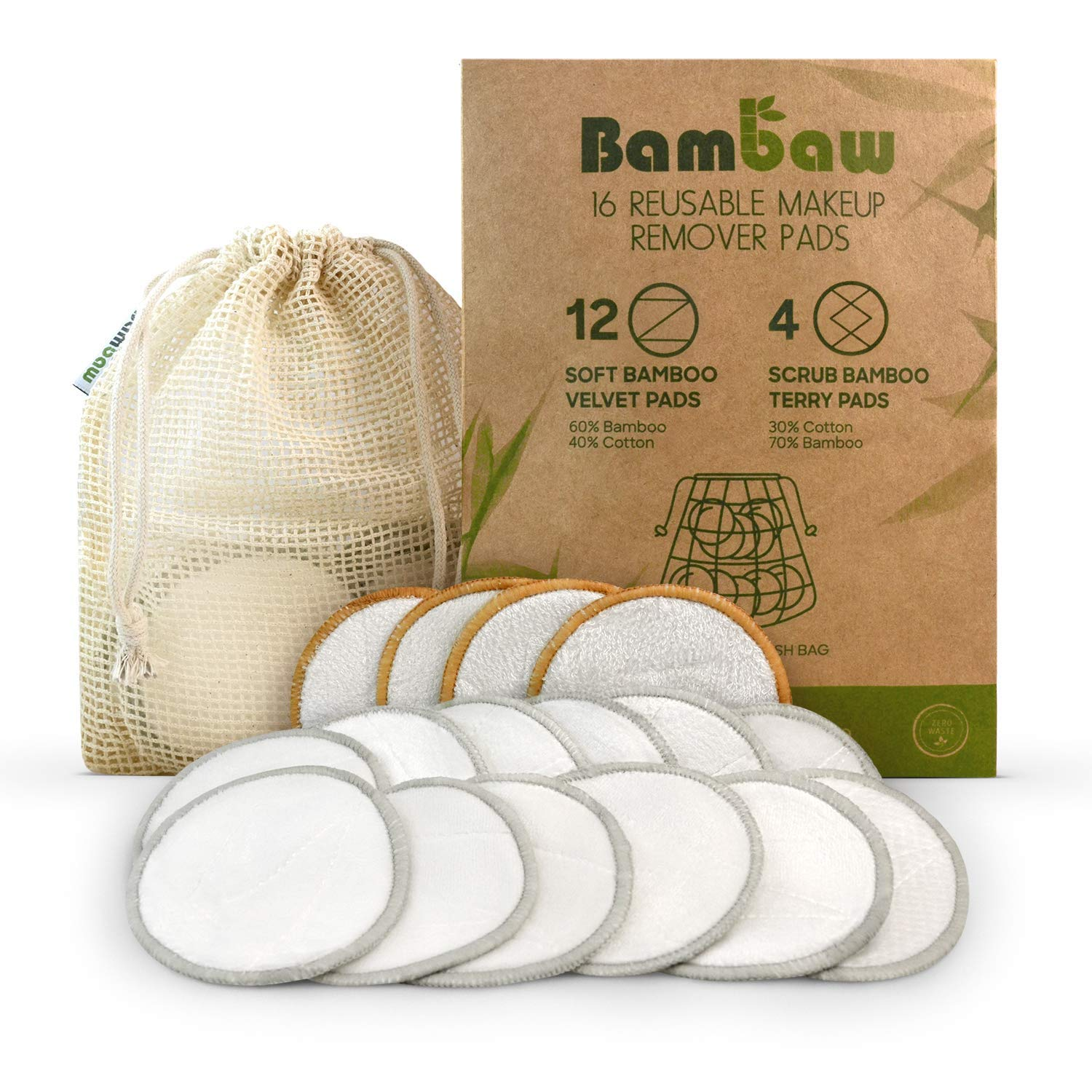 Reusable Make Up Remover Pads | 16 Bamboo Removal Pads with Laundry Bag | Washable and Eco-Friendly | For All Skin Types | Face Cleaner and Eye Make Up Remover Pads| Zero Waste Make Up Pads | Bambaw by Bambaw