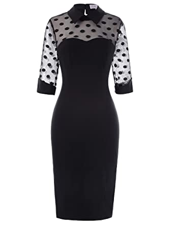 bb014532361 Women s 3 4 Sleeve Lapel Collar 1950s Retro Polka Dots Slim Bodycon Pencil  Dresses Size