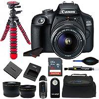 Canon EOS 4000D / Rebel T100 18.0 MP SLR - Black w/ 18-55mm DC III Lens Bundle