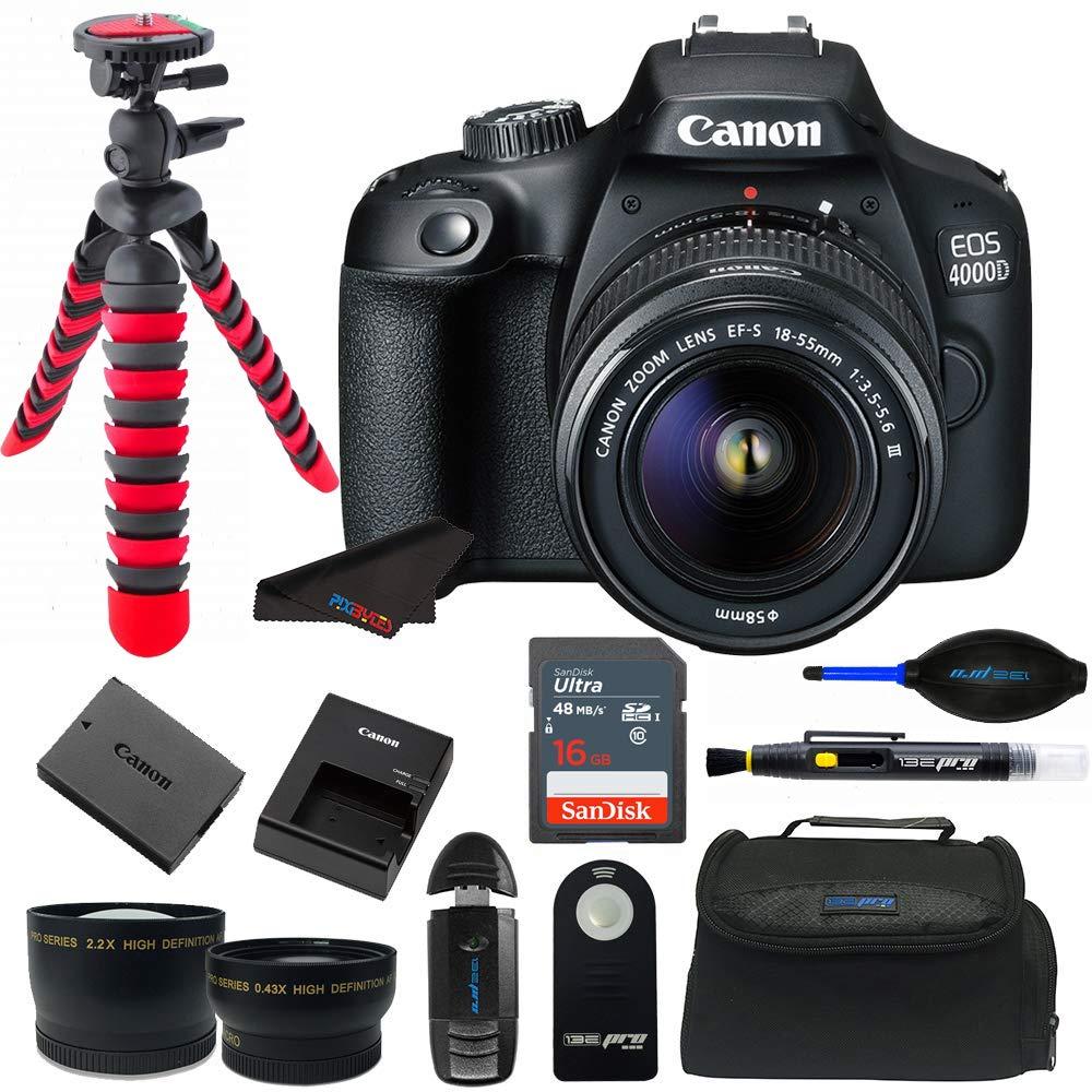 Canon EOS 4000D / Rebel T100 18.0 MP SLR - Black w/ 18-55mm DC III Lens Bundle by Pixibytes