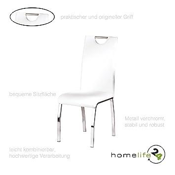Sehr Moderne Stühle 2er Set Stuhl Design Für Ihr Esszimmer Oder Wohnzimmer  Flur Metall Verchromt Weiß