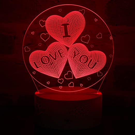 3D I Love YouNight Light 16 Colors Change Sleep Lamp Adjustable LED 3D Illusion Lamp I Love You Decorative Desk Lamp for Valentines Wife Boyfriend Girlfriend, Remote Touch
