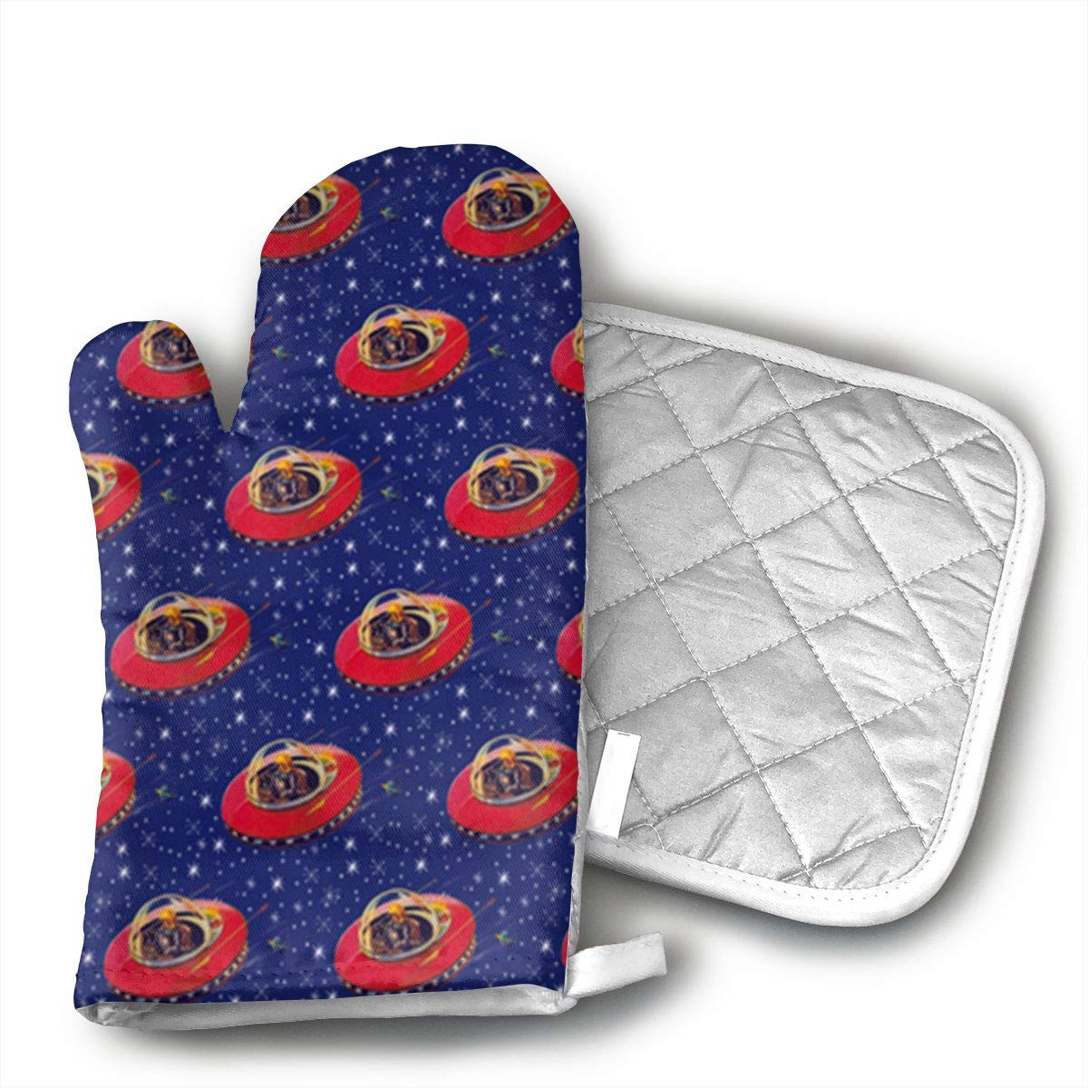 InsulatedMitt59 Superhero Love Tiny But Mighty Pattern Oven Mitts, Non-Slip Silicone Oven Mitts, Extra Long Kitchen Mitts, Heat Resistant to 572¡ãF Kitchen Oven Gloves