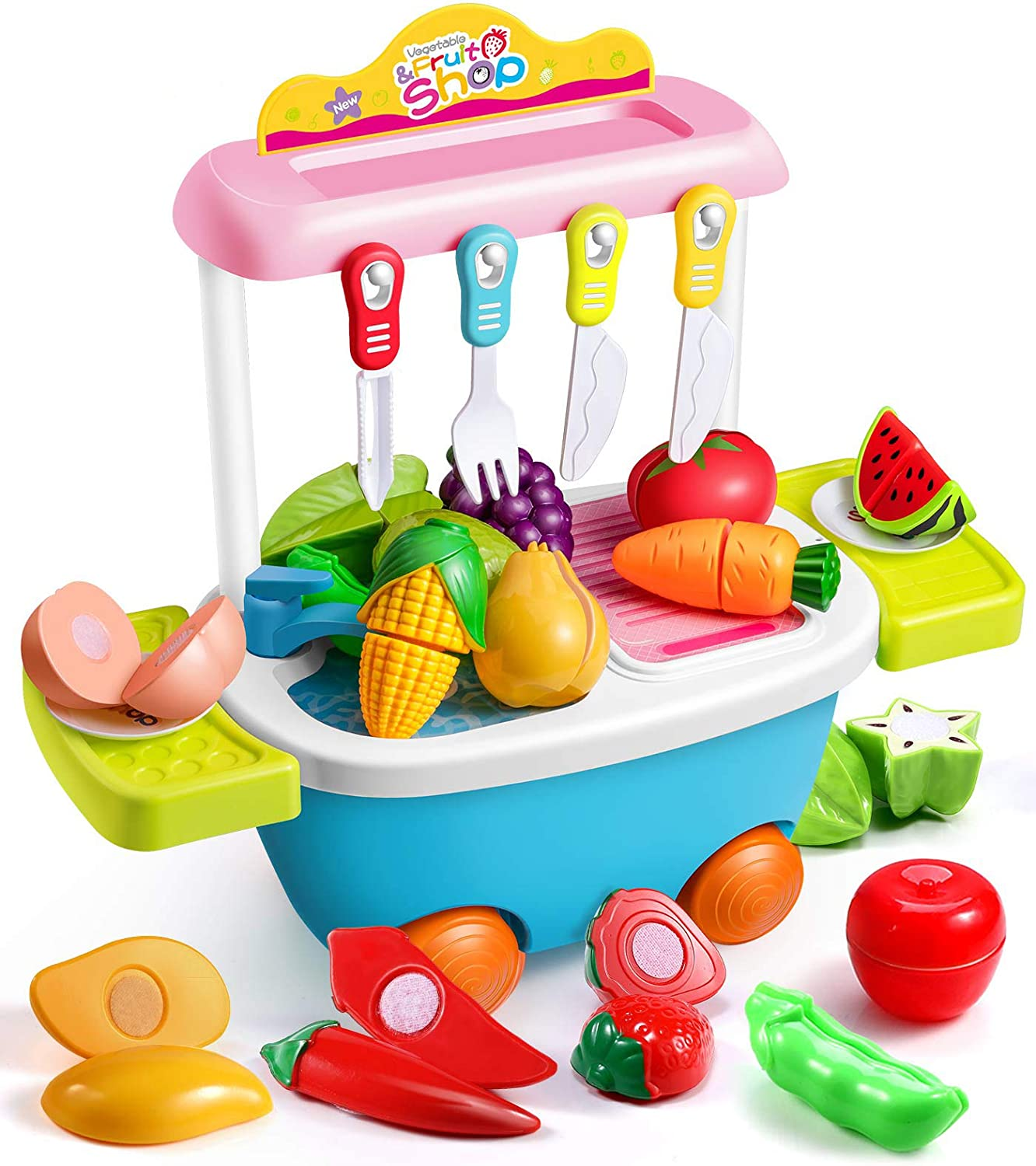 Geyiie Play Food for Kids Kitchen Toys –30PCS Pretend Food Cutting Fruits Vegetable Playset Shopping Cart Trolley Food Truck – Pretend Play Educational Toy for Toddlers 3 4 5 6 7 8 Years Old