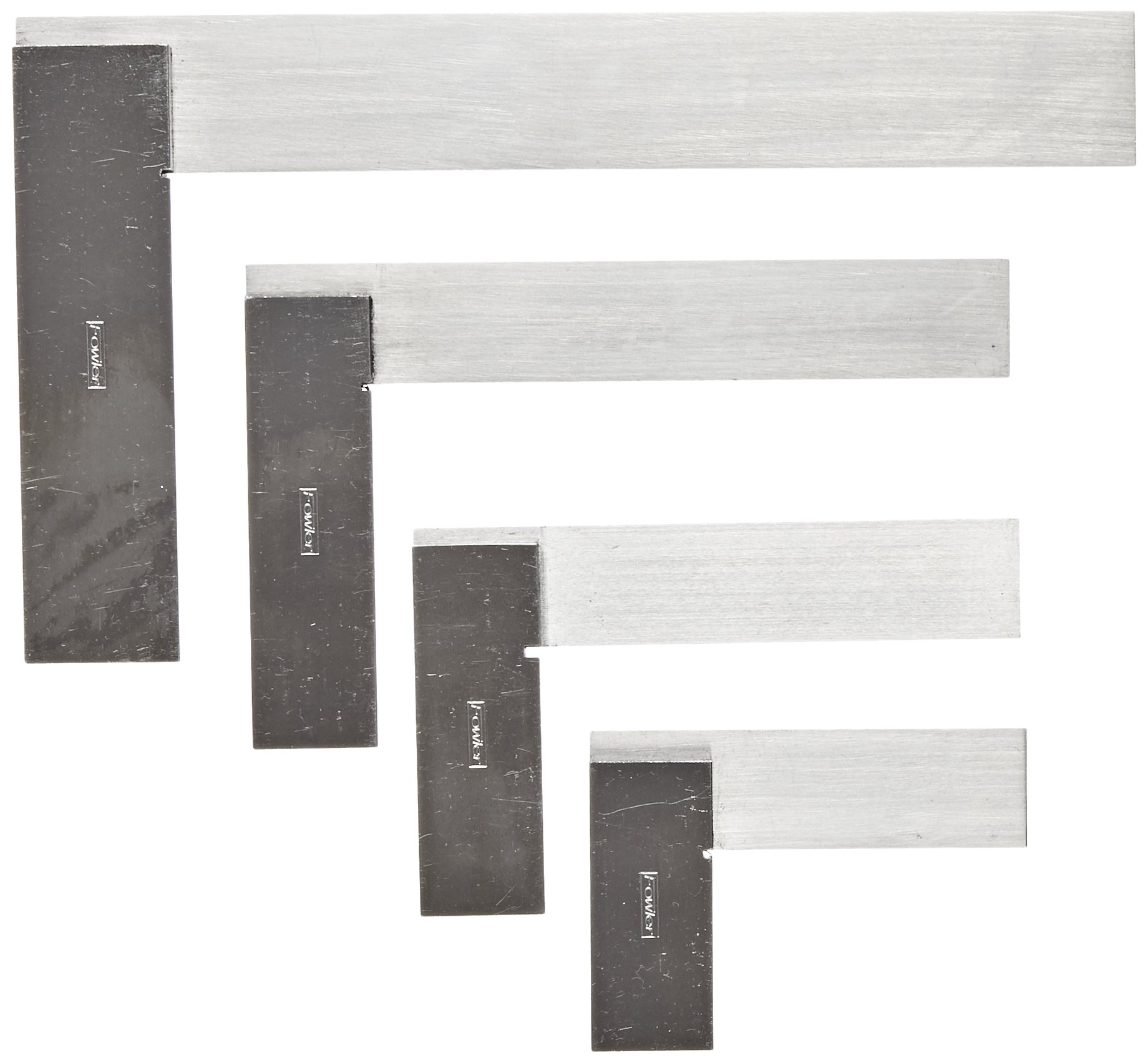 Fowler Full Warranty 52-432-246-0 Machinist Hardened Steel Square Set, 2'', 3'',4'',and 6'' Blade Size
