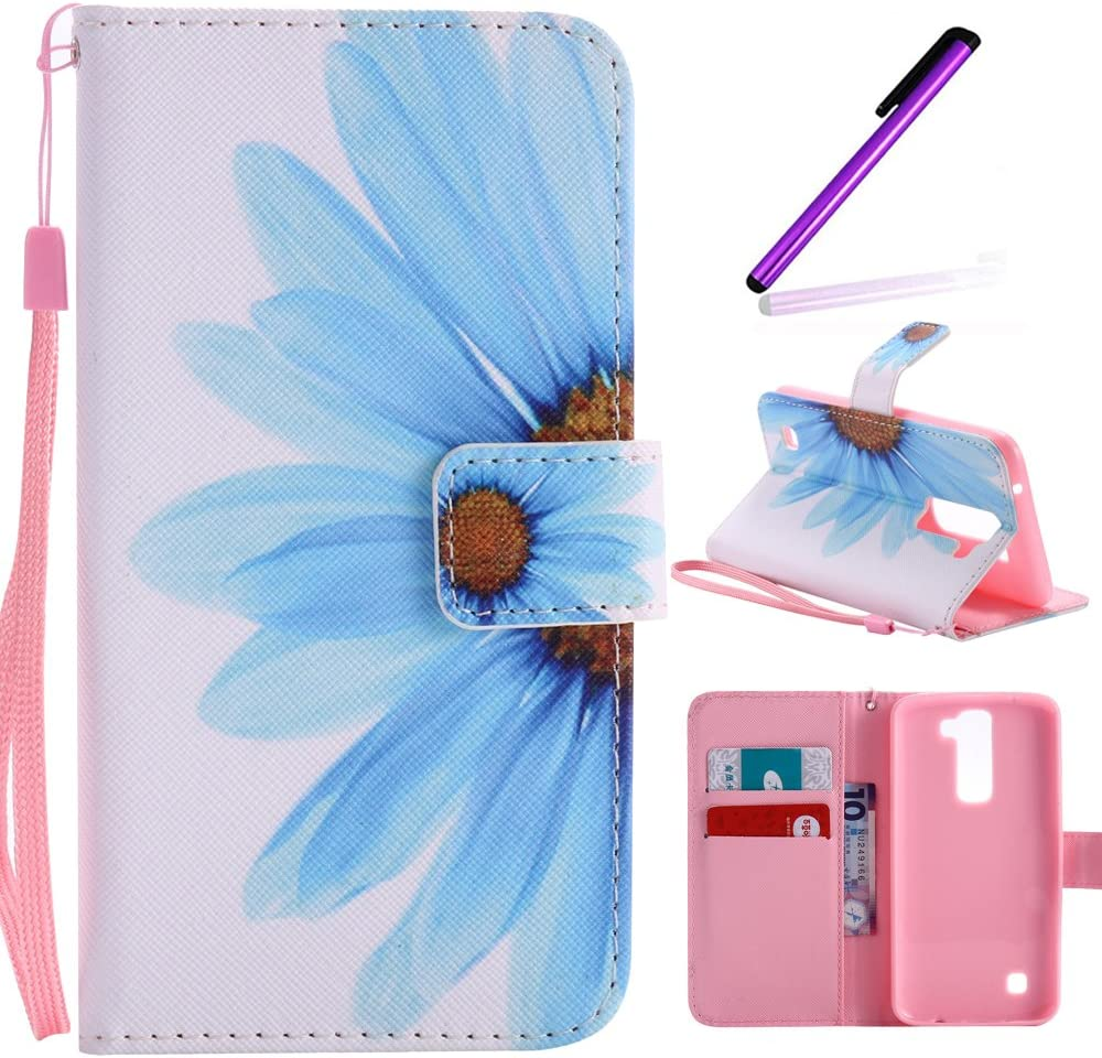 LG K7 Case,LG K8 Case, LEECOCO Fancy Paint Design Wallet Case with Card Slots Shocoproof Colorful Floral PU Leather Flip Stand Magnetic Case Cover for LG K7 / K8 / LG Tribute 5,Sky Blue Sunflower