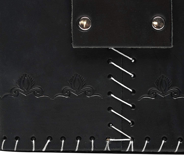 BALIBETOV Bolso Matero Rustico de Cuero Genuino I Bolso para Calabaza Mate Negro Actividad al Aire Libre el Trabajo Picnic Termo I Ideal para Viajar Yerba Mate