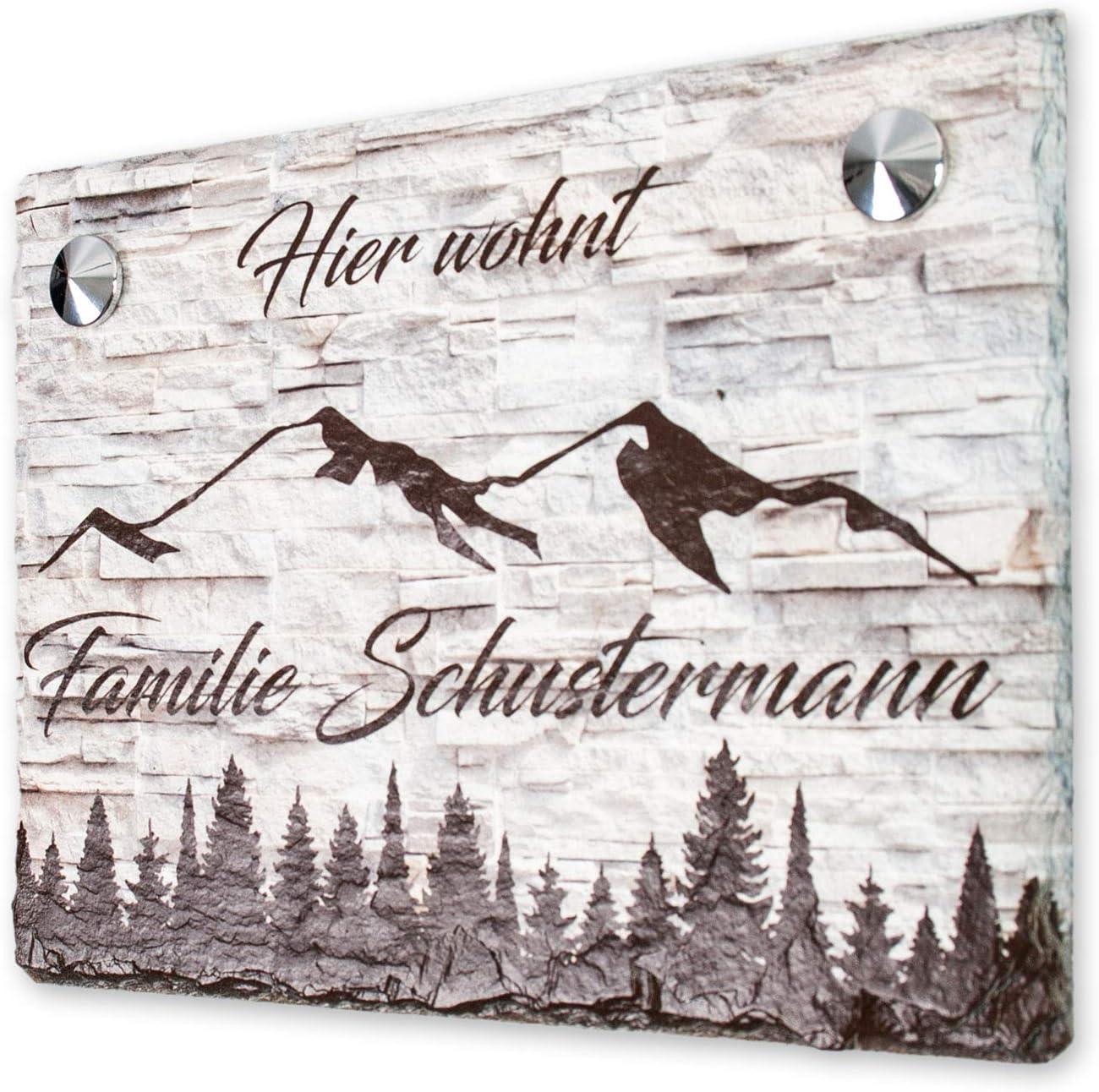 Kreative Feder Berge Schiefertafel T/ürschild mit Wunschtext Beige personalisiertes Namensschild Einzugsgeschenk