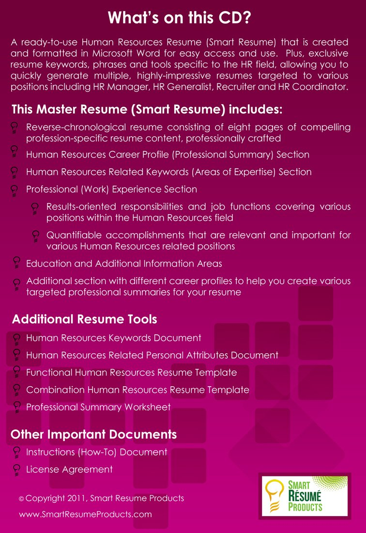 Human Resources Resumes Master Resume For Hr Professionals Written
