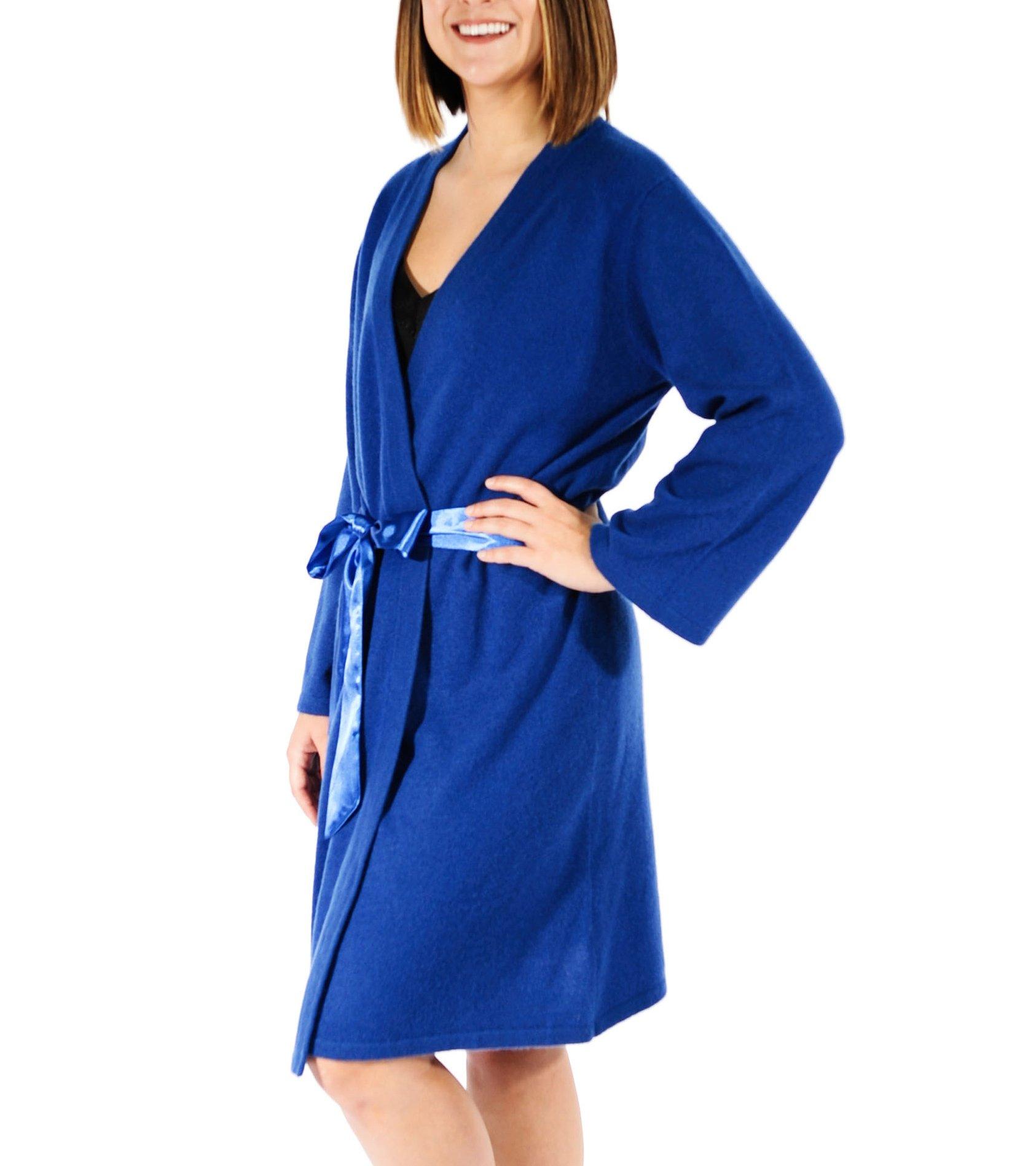 Gigi Reaume 100% Cashmere Women's Robe, Wrap Style, Satin Belt, Short Length (Large, Sapphire Blue)
