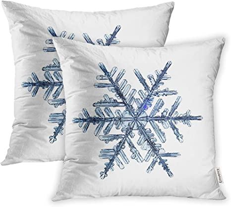 Amazon Com Emvency 20x20 Inch Decorative Set Of 2 Throw Pillow Cover Blue Snow Natural Christmas Snowflake Crystal Ice Square Home Cushion Sofa Two Sides Pillow Case Home Kitchen
