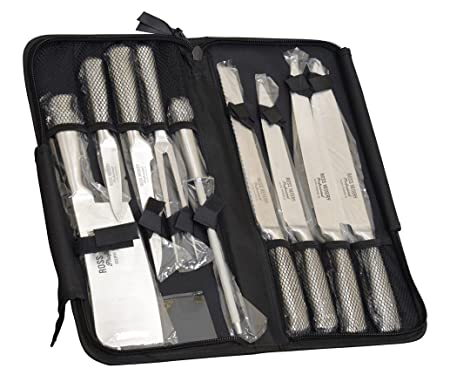 Ross Henery Professional  9 couteaux de chef Ross Henery, lot de 9 pièces, couteaux de cuisine professionnels avec aiguiseur dans un étui de transport à fermeture éclair.
