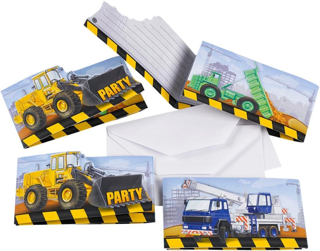 NET TOYS Partykette 180 x 15 cm Kindergeburtstag Junge Party Deko Baustelle Geburtstagsdeko Girlande Wanddeko Baufahrzeuge