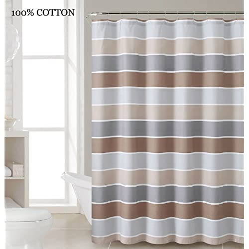 100 Cotton Fabric Shower Curtain Stripe Design Brown Gray And White