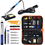 Anbes Soldering Iron Kit Electronics, 60W Adjustable Temperature Welding Tool, 5pcs Soldering Tips, Desoldering Pump, Solderi
