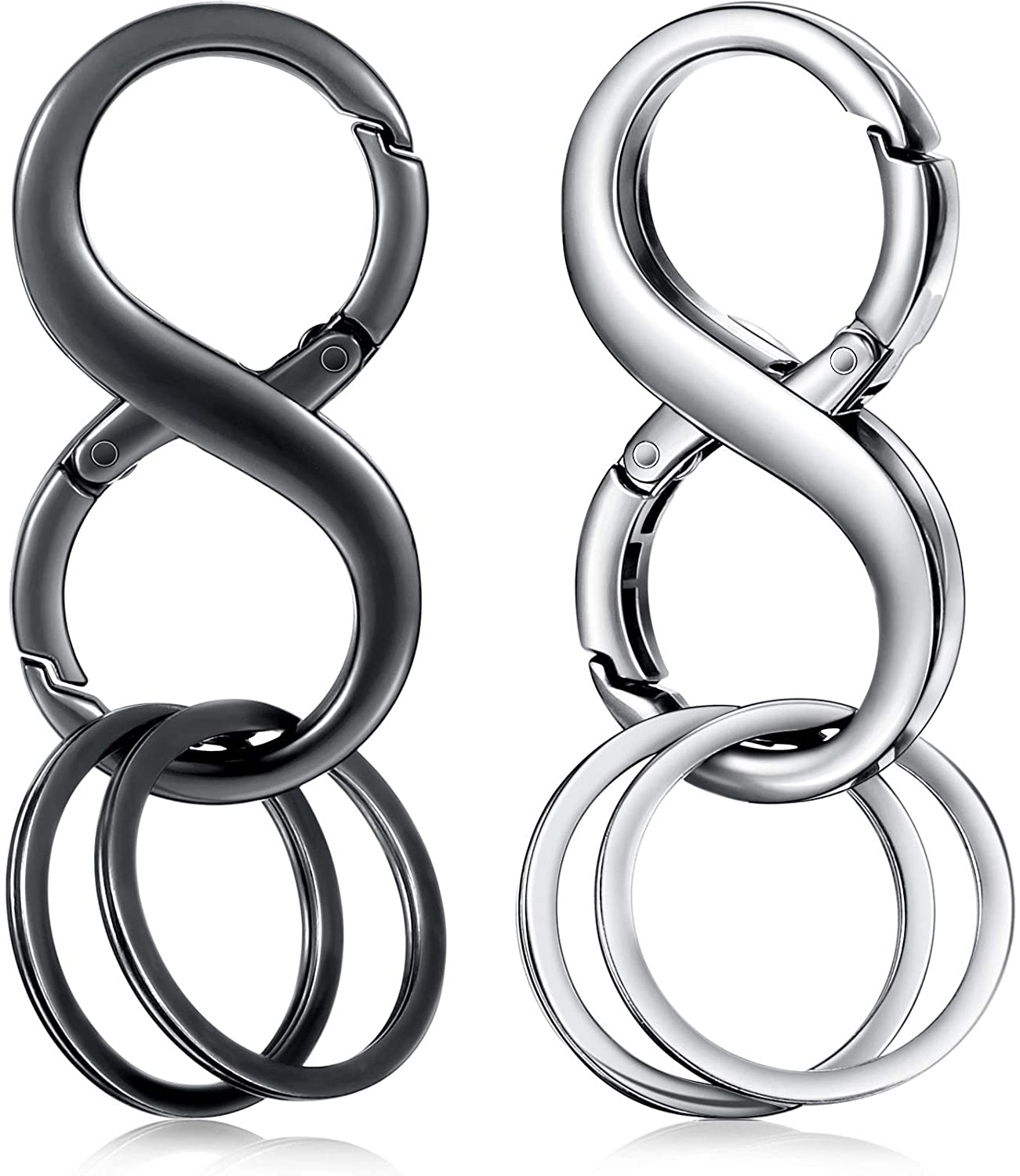 Black and Silver 2 Pieces 8 Shape Car Key Chains Car Detachable Key Chains Zinc Alloy Business Key Rings with 4 Extra Key Rings for Men and Women