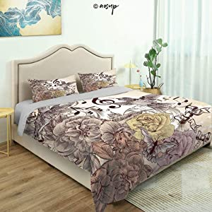 Homenon 3 Piece Queen/King Size Bedroom Decor Fashion Flourishes and Birds Rose Blossoms Leaves Nostalgia Quilts Cover with 2 Pillow Cover for Children Teen Boy Adult Beding Set (King)