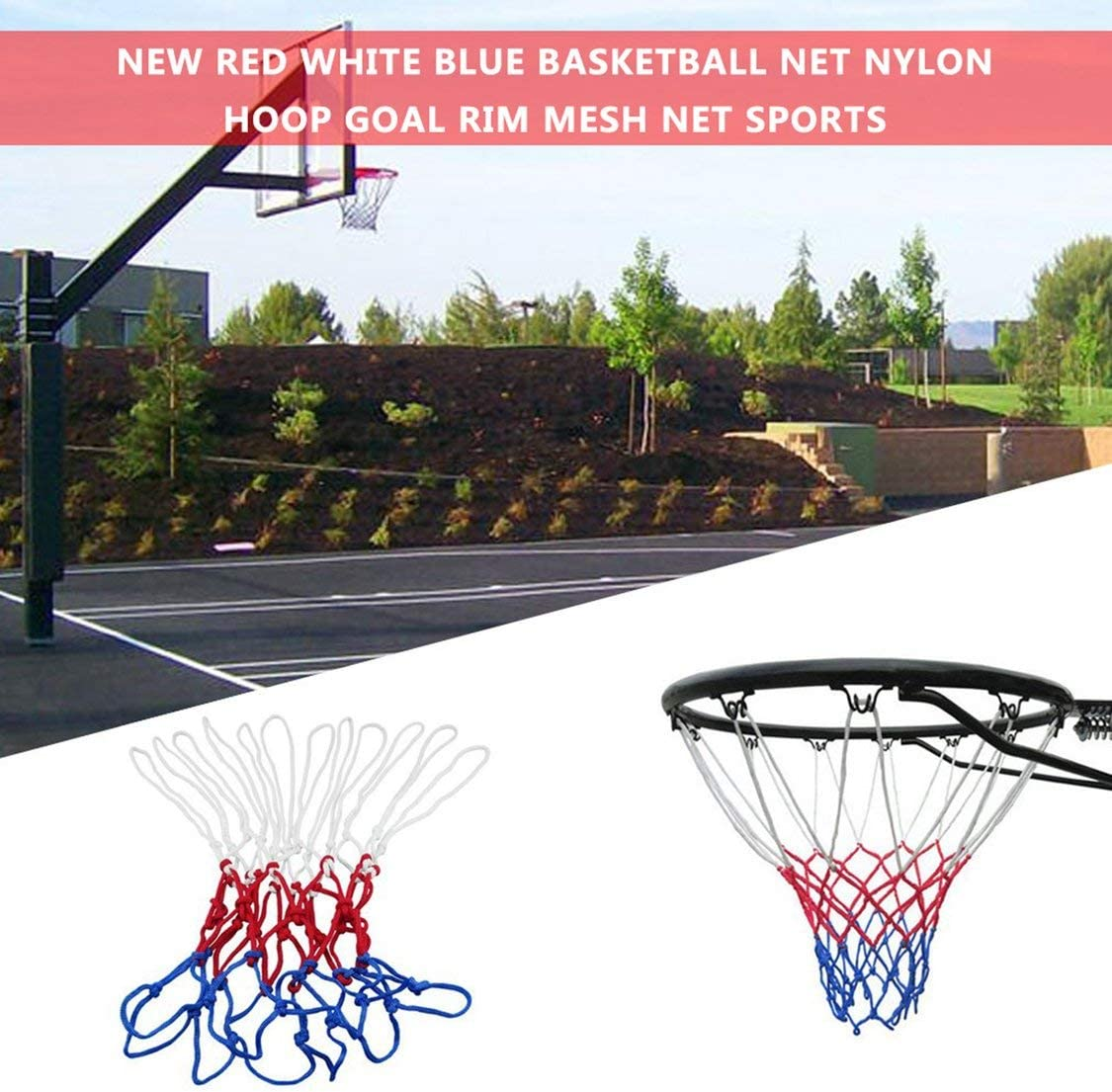 Dynamovolition Standard Durable Nylon Basketball Goal Hoop Net Netting Red+White+Blue Basketball Net Outdoor Sports Accessories