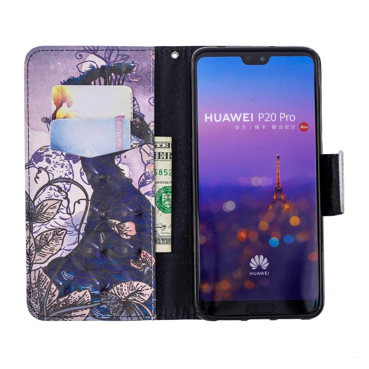 CUSKING Huawei P20 Pro Case, Premium 3D Design Wallet Case Stand Flip Case with Card Holders and Magnetic Closure, Multi-Functional Shockproof Case for Huawei P20 Pro - Peacock by CUSKING (Image #4)