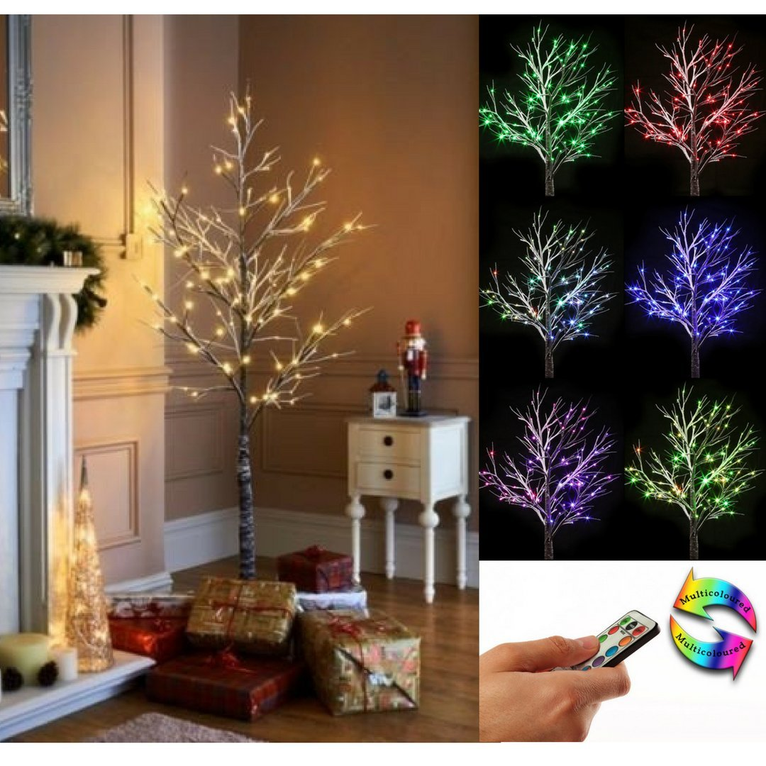 Jaymark Products Christmas Pre Lit Twig 6-7ft Tree - Remote Controlled Colour & Warm LED Lights (6ft Colour Changing Xmas Tree)