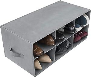 Sorbus Shoe Organizer Bin, 8 Section Cubby Shoe Shelves, Foldable Portable Detachable Closet Organizer Storage for Home Organization