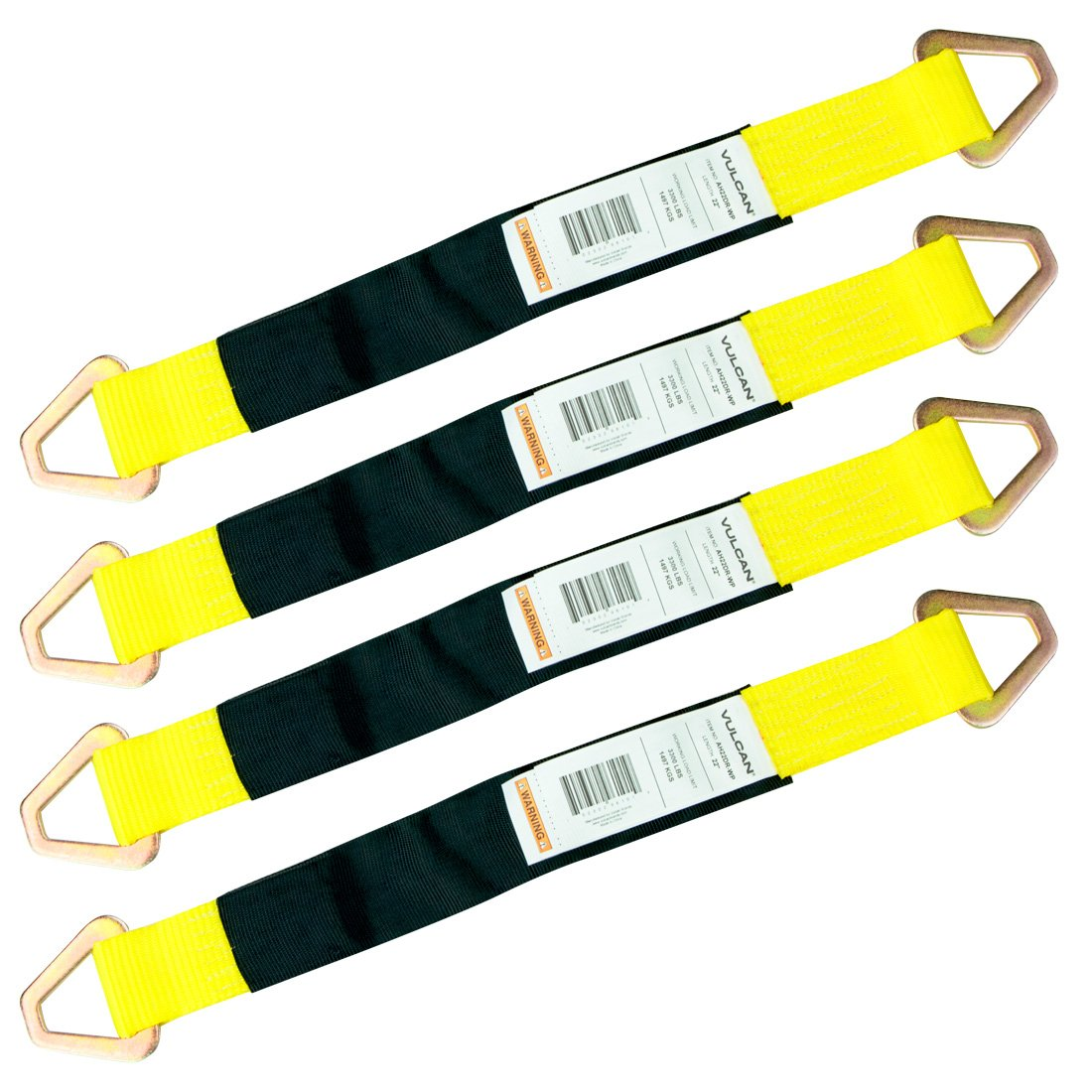 Vulcan Classic Yellow 1-Ply Automobile Tie Down Axle Straps with Wear Pads (2'' Wide x 22'' Long Straps - 4 Pack)