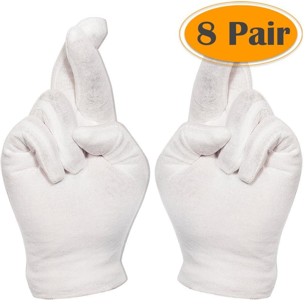 Selizo 8 pares de guantes de algodón blanco para cosméticos ...