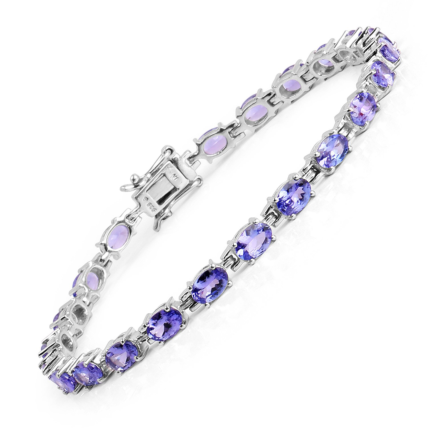 Tanzanite Oval .925 Sterling Silver Bracelet 9.68ctw. From Johareez