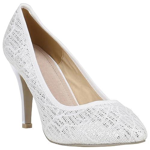 ee4e9f469b7800 Klassische Lack Pumps High Heels Stilettos Leder-Optik Schuhe 155281 Weiss  Satinoptik 36 Flandell