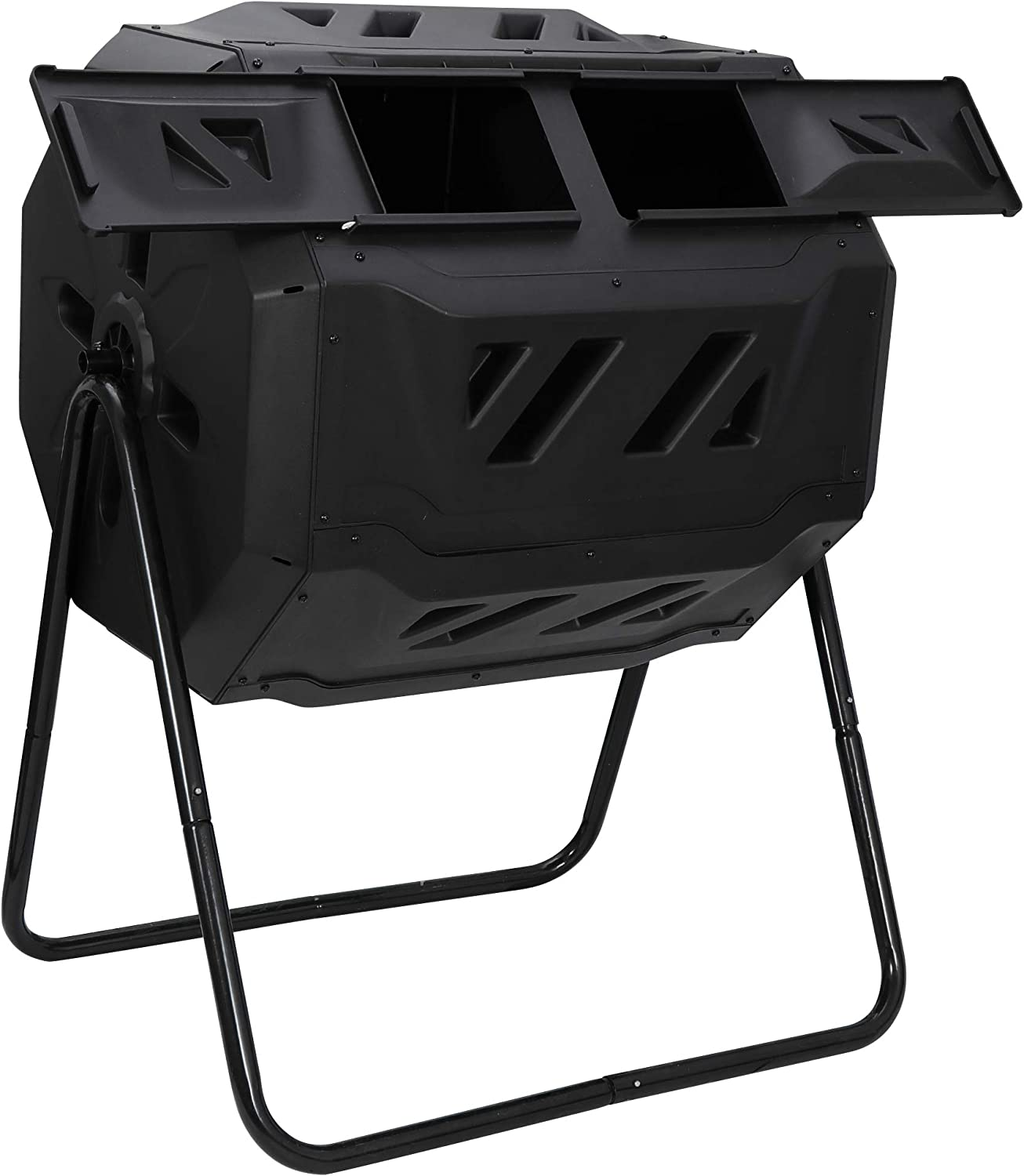 SUPER DEAL 43 Gallon Large Outdoor Compost Tumbler 2 Chambers Garden Composting Bin 360/° Rotation Black