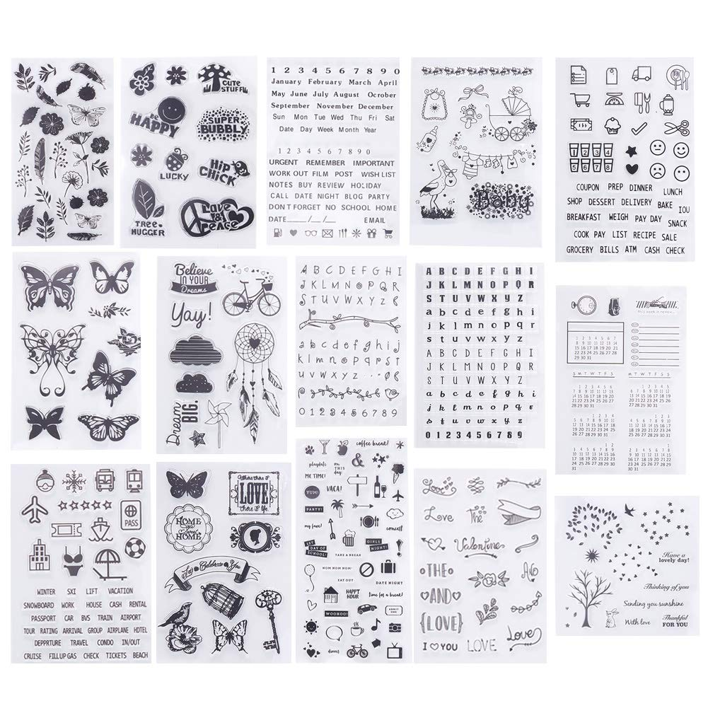 PH PandaHall 15 Sheets Clear Stamps Silicone Transparent Stamp Seal for Cards Making DIY Scrapbooking Photo Card Album Decoration wh-DIY-PH0018-42