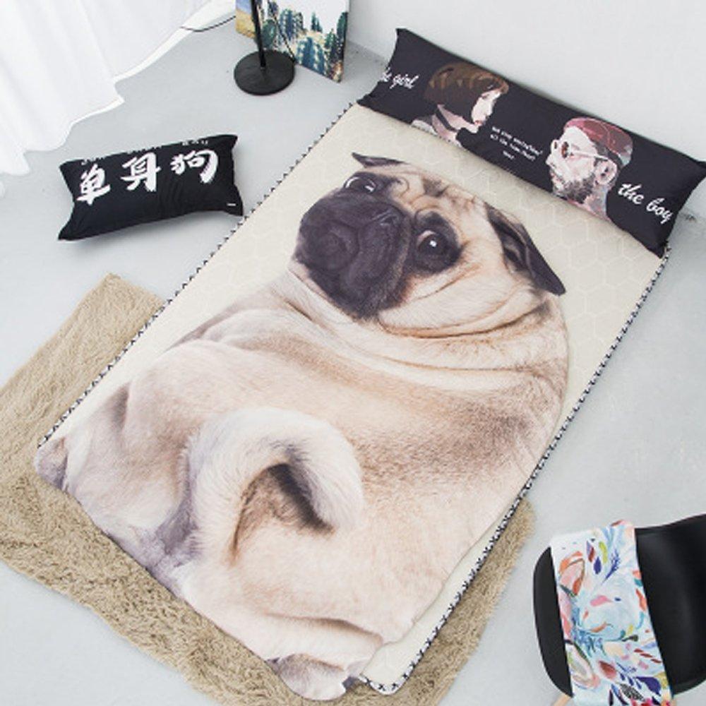 Koongso 3D Animal Prints Blanket Bedding Dog Shaped Summer Quilt Pug Comforter Washable Light Quilt