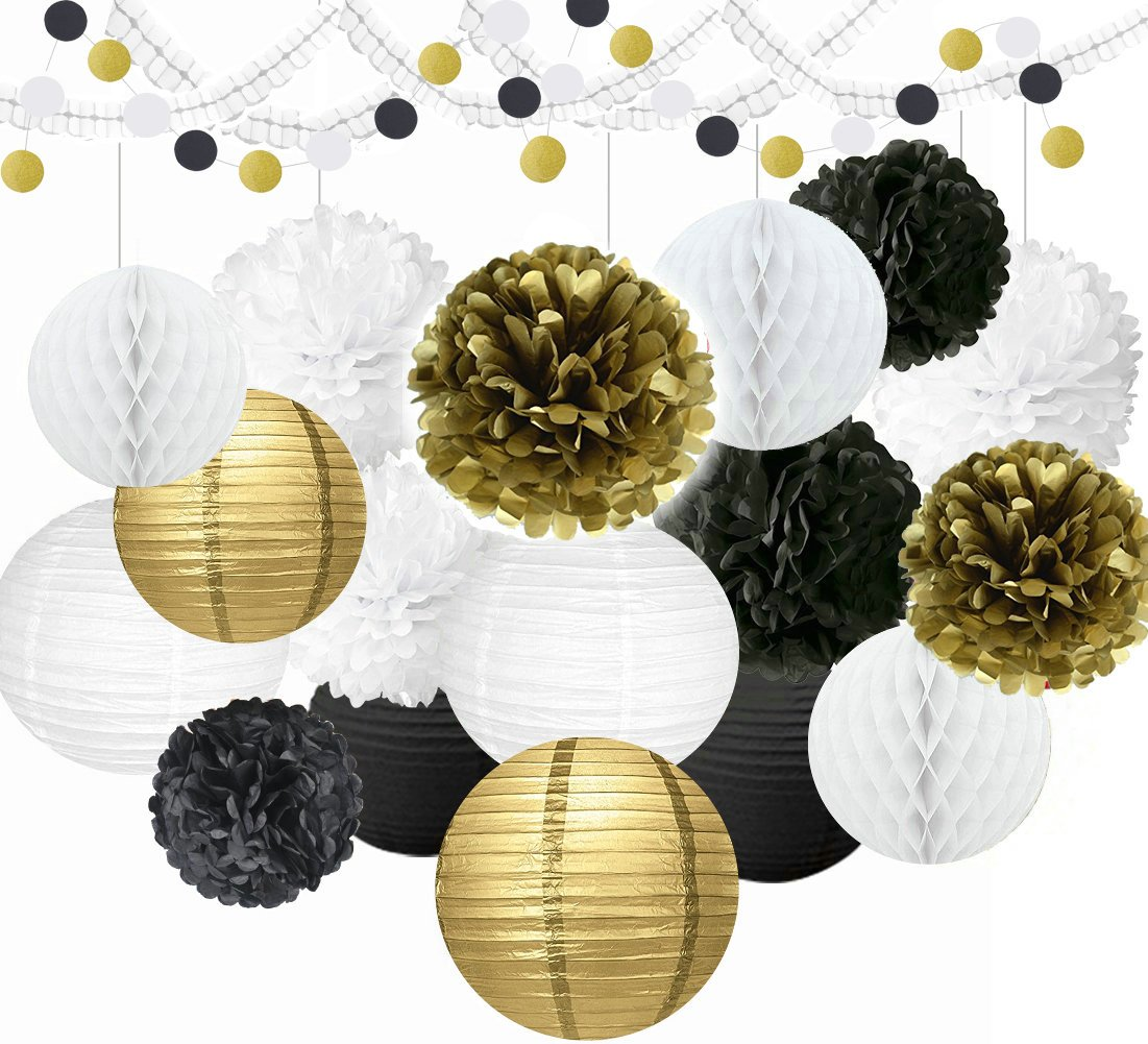 Paper Lanterns & Paper Flowers, 27pcs Various Types of Tissue Pom Poms Paper Decorations, Mixed Color with Black, White & Gold, Perfect for Party Decoration, Wedding Decorations & Holiday Decorations Sopeace