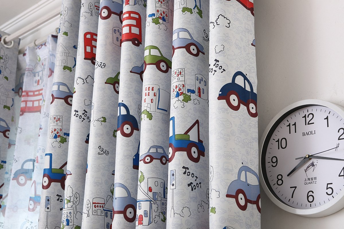 AiFish 1 Panel Cartoon Cars and Bus Printed Kids Room Semi-Blackout Curtains Room Darkening Thermal Insulated Window Panel Drapes for Boys Girls Bedroom W39 x L84 inch