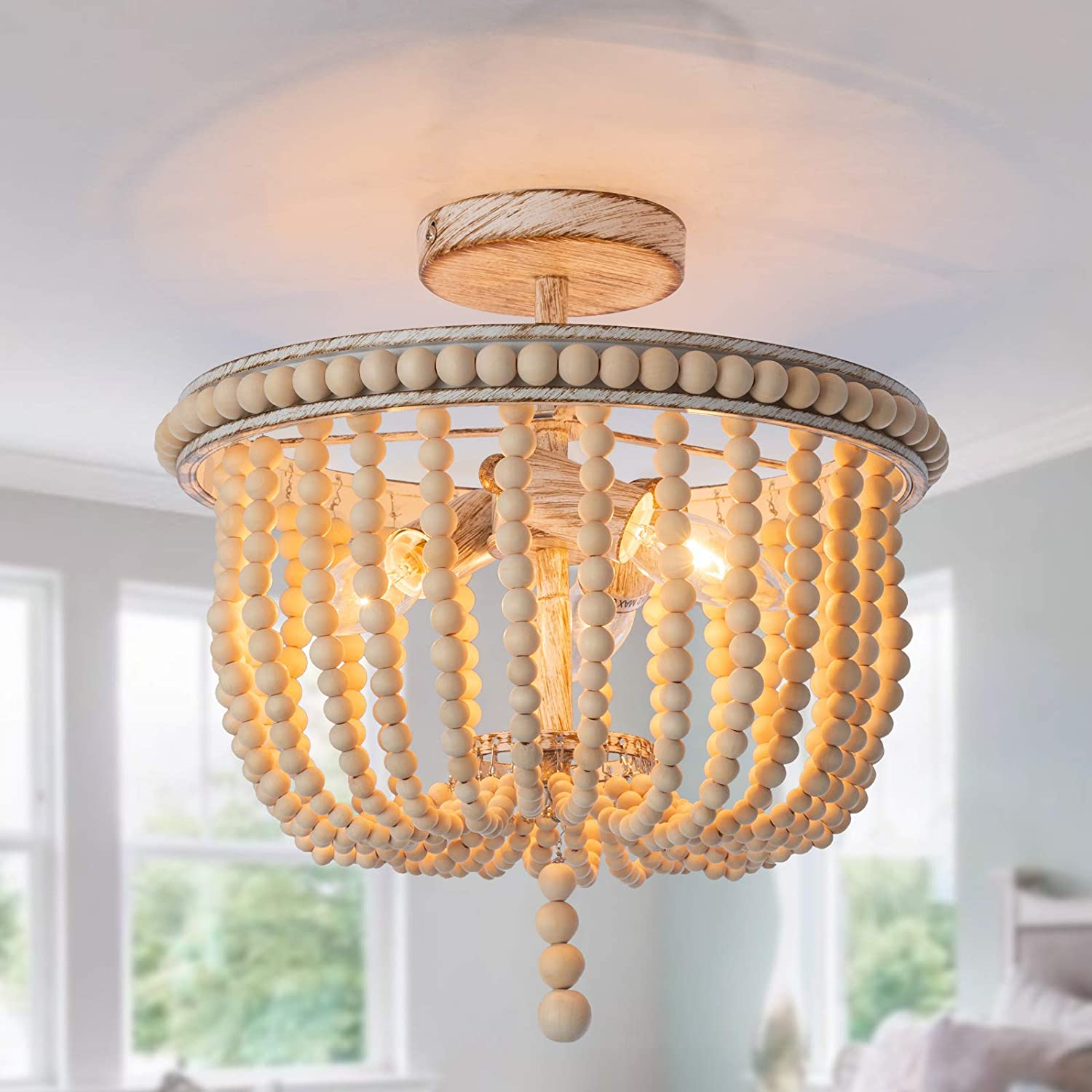 Wood Beaded Flush Mount Ceiling Light,3-Lights Antique Rustic Beaded Chandelier, Farmhouse Lighting Fixtures for Bedroom Living Room Kitchen Entryway Hallway and Stairway, Hand Painted Oak Wood Finish