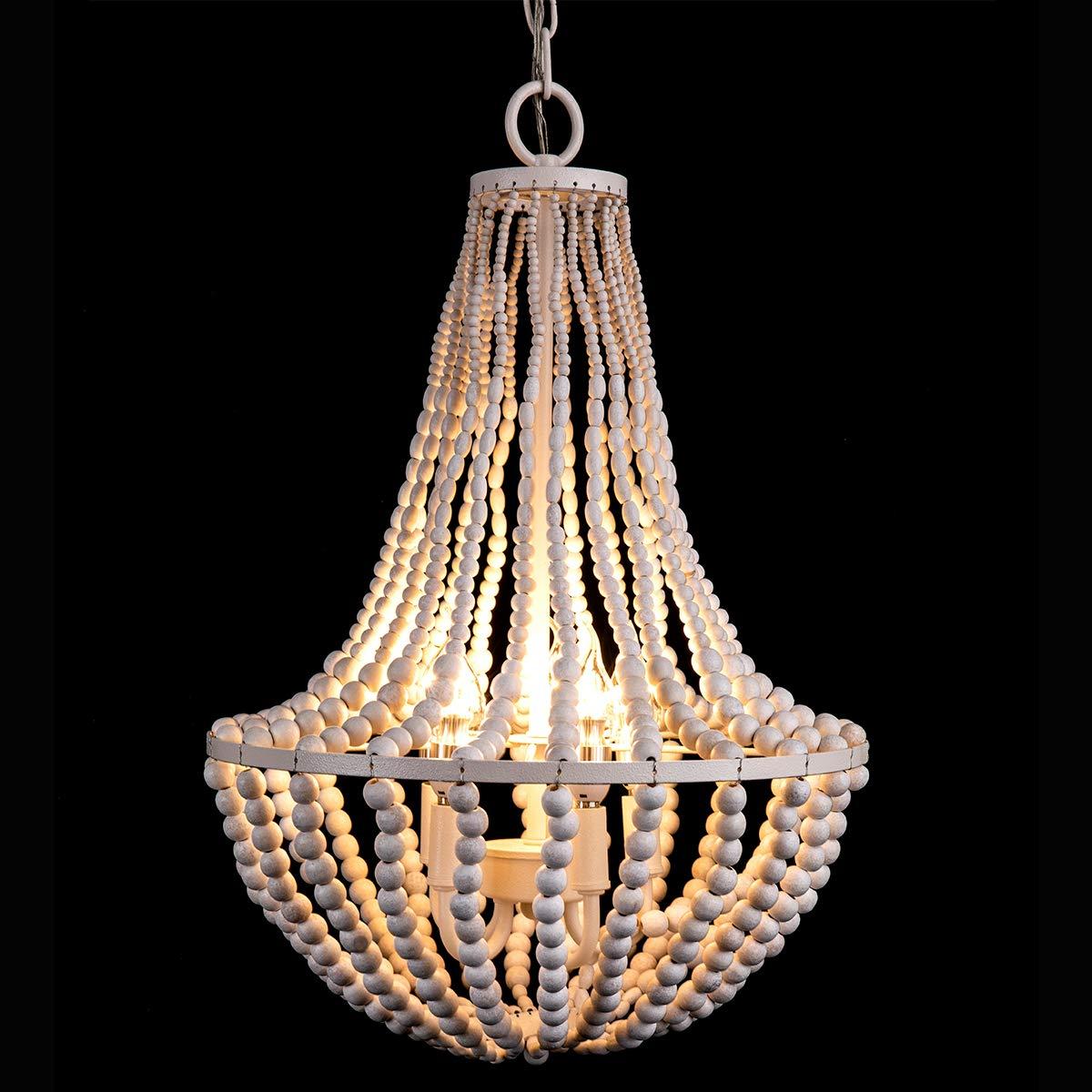 Morden Fort White Beaded Chandelier 5 Lights for Living Room//Bed Room//Dining Room Beaded Chandelier
