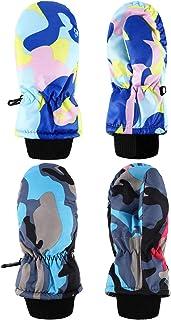 2 Pairs Kids Snow Mittens Boys Girls Ski Gloves Winter Warm Gloves for Aged 3-5 Years