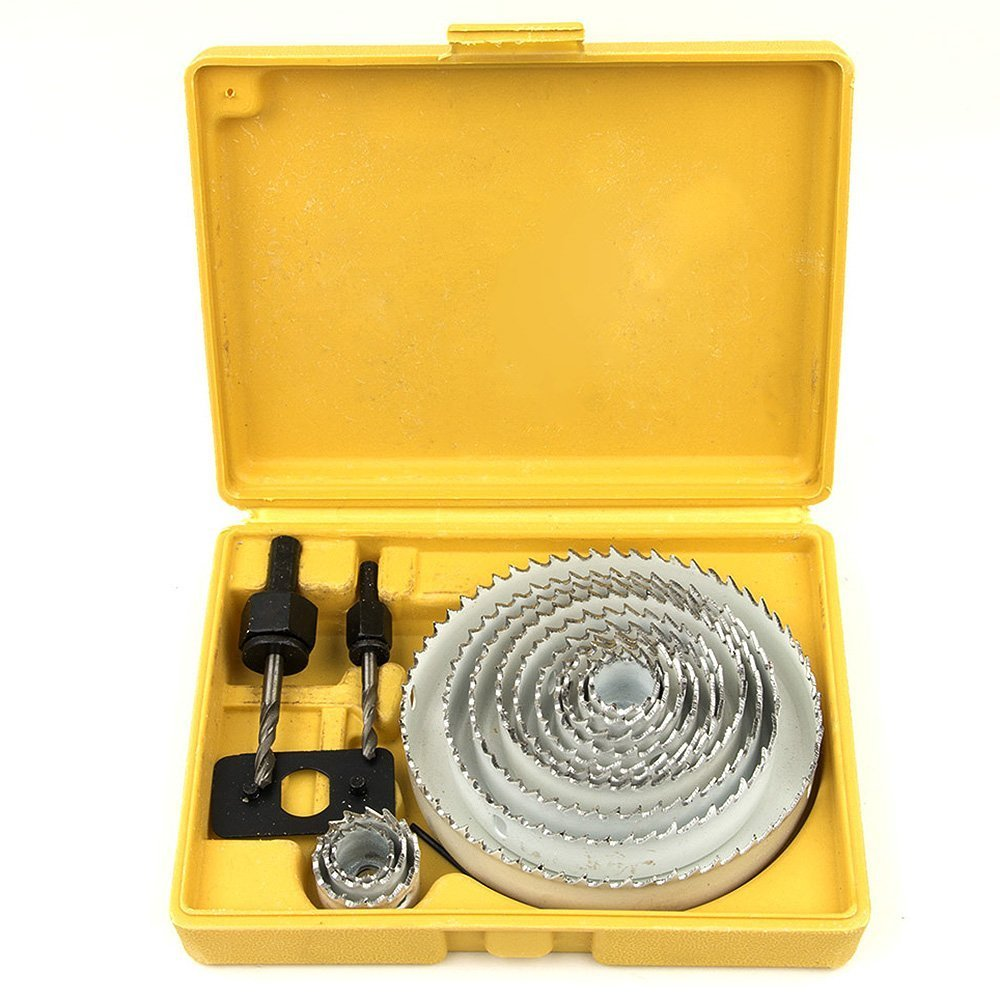 Hole Saw Cutter Kit, Ankoow 16Pcs/Set 3/4'' - 5'' HSS Hole Saw Drill Bit for Wood, Plasterboard, Plastic and Non Ferrous Metals with Case