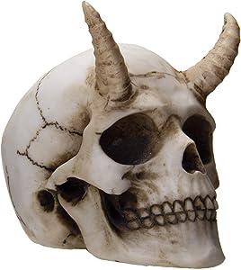 SUMMIT COLLECTION Devil Horned Skull Demon Skull Human Skull Bone 3.75 Inch