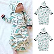 Raptop 2Pcs Baby Swaddle Blanket, Girls Boy Dinosaur Sleeping Bag Sleep Stroller Sack For 0-12 Month With Hat Cartoon Pajamas Gown Outfits (White)