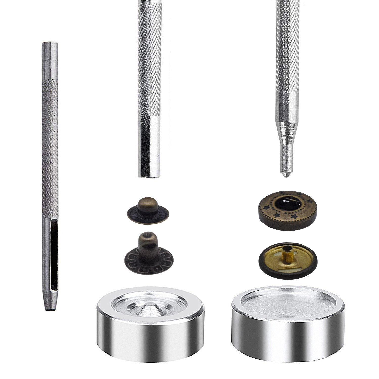 60 Set Snap Fasteners Kit for Leather//Clothing,3 Color Gunmetal Black,Silver and Bronze Snaps Button Press Studs with 4 Pieces Fixing Tools Caps Diameter 0.6 inch