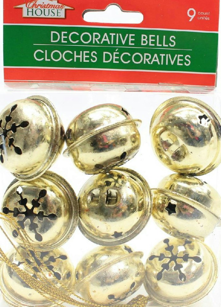 (Pack of 2) 9 Large Christmas House Aged Finish Snowflake Cutout Jingle Bells (Gold) Awnabelle No Model