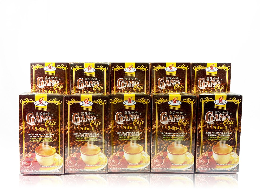 Gano Excel - 10 Boxes (200 Sachets) Ganocafe 3 in 1 Coffee with Ganoderma Lucidum Extract + Free Express 2-3 Days