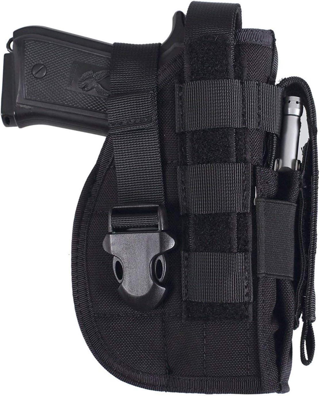 Gexgune Funda de Pistola táctica Universal Mano Derecha Molle Pistola de Pistola Airsoft Cinturón de Cintura Funda Negro Tan Verde Multicam para Mano Derecha (5 Colores Opcionales)