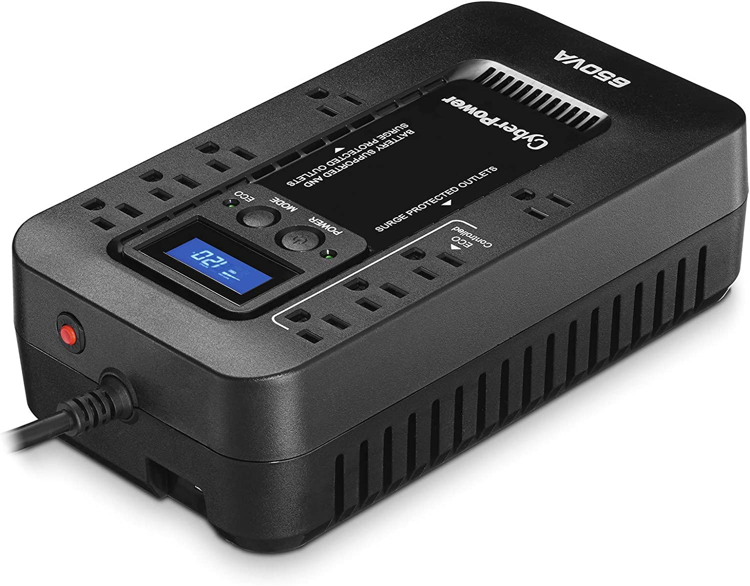 650VA//390W ECO Mode Compact 8 Outlets CyberPower EC650LCD Ecologic UPS System