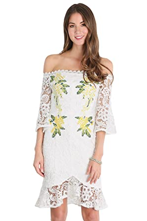 Nikibiki Flower Embroidery Off Shoulder Lace White Dress Small
